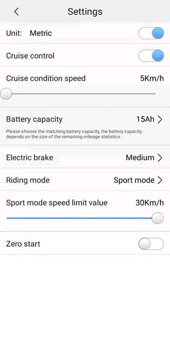 E-Wheels App Inställningar